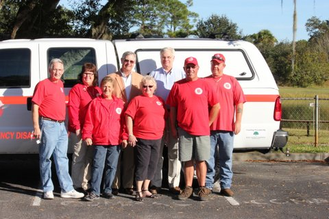Disaster team members Karman and Marvin Lee, Elaine McNeal, Brian Baker, Barb Crespo, Mike Heath, Sal Army Board Chair Jeff Smith and John's Island Foundation Board Chair Mark Earle.