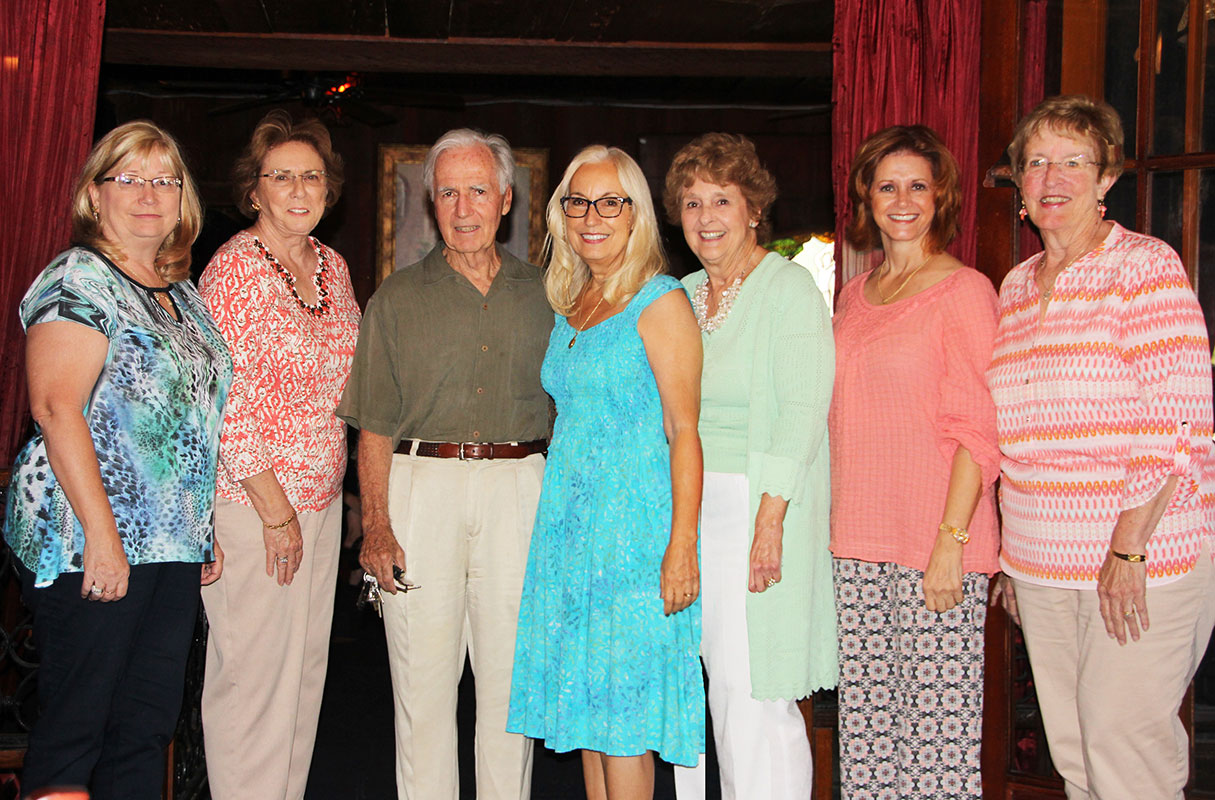 The Vero Beach Art Club installed new officers May 7 at the Patio Seafood Tavern. From left are Dawn Mill, Nancy Reeves, George Paxton, President Sue Dinenno, Deirdre Bugbee, Vice President Rebecca Van Cordt and Secretary Judy Mercer. Not pictured are Treasurer Fran San Miguel and board member Kim Weissenborn.
