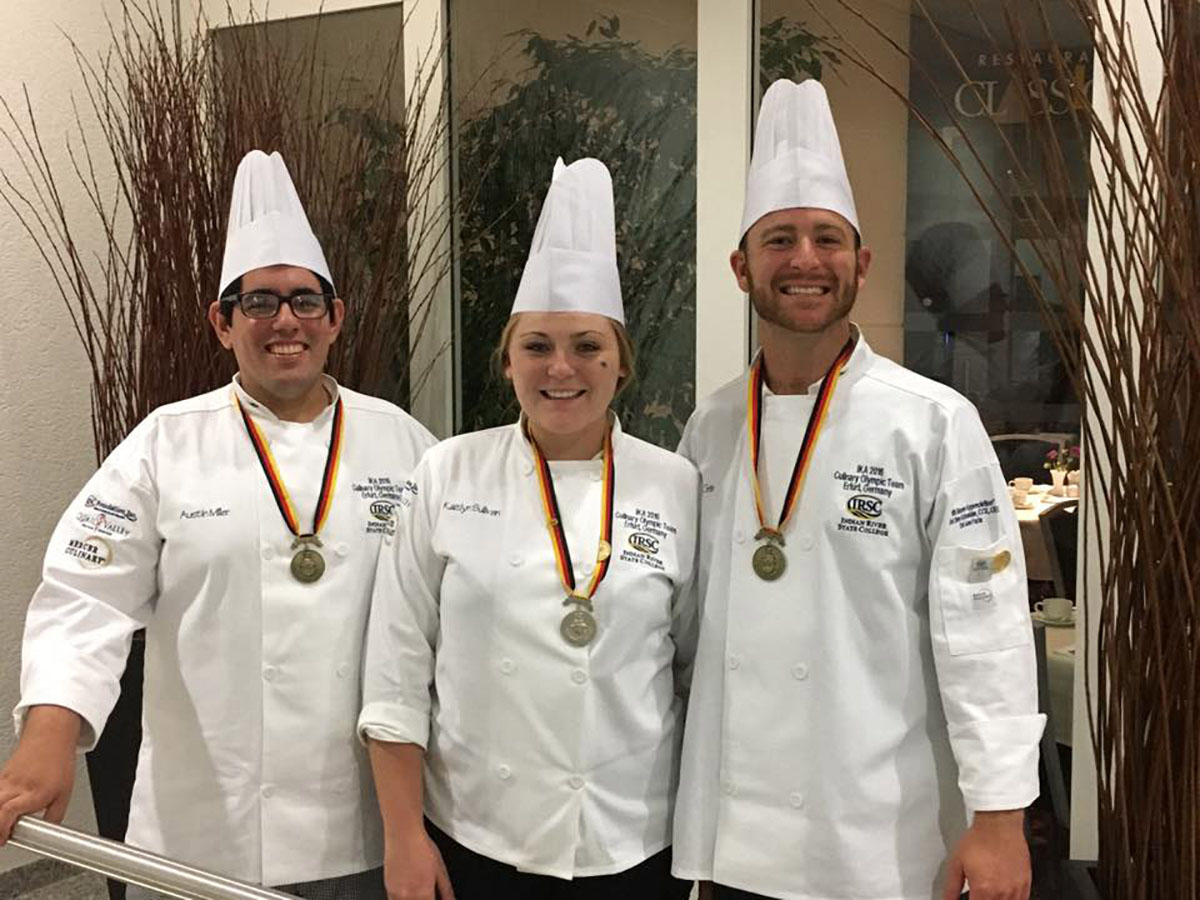 IRSC Culinary students Austin Miller, Kaitlyn Sullivan and Jacob Gelb prepared award winning dishes at the 2016 IKA International Culinary Olympics in Erfurt, Germany.