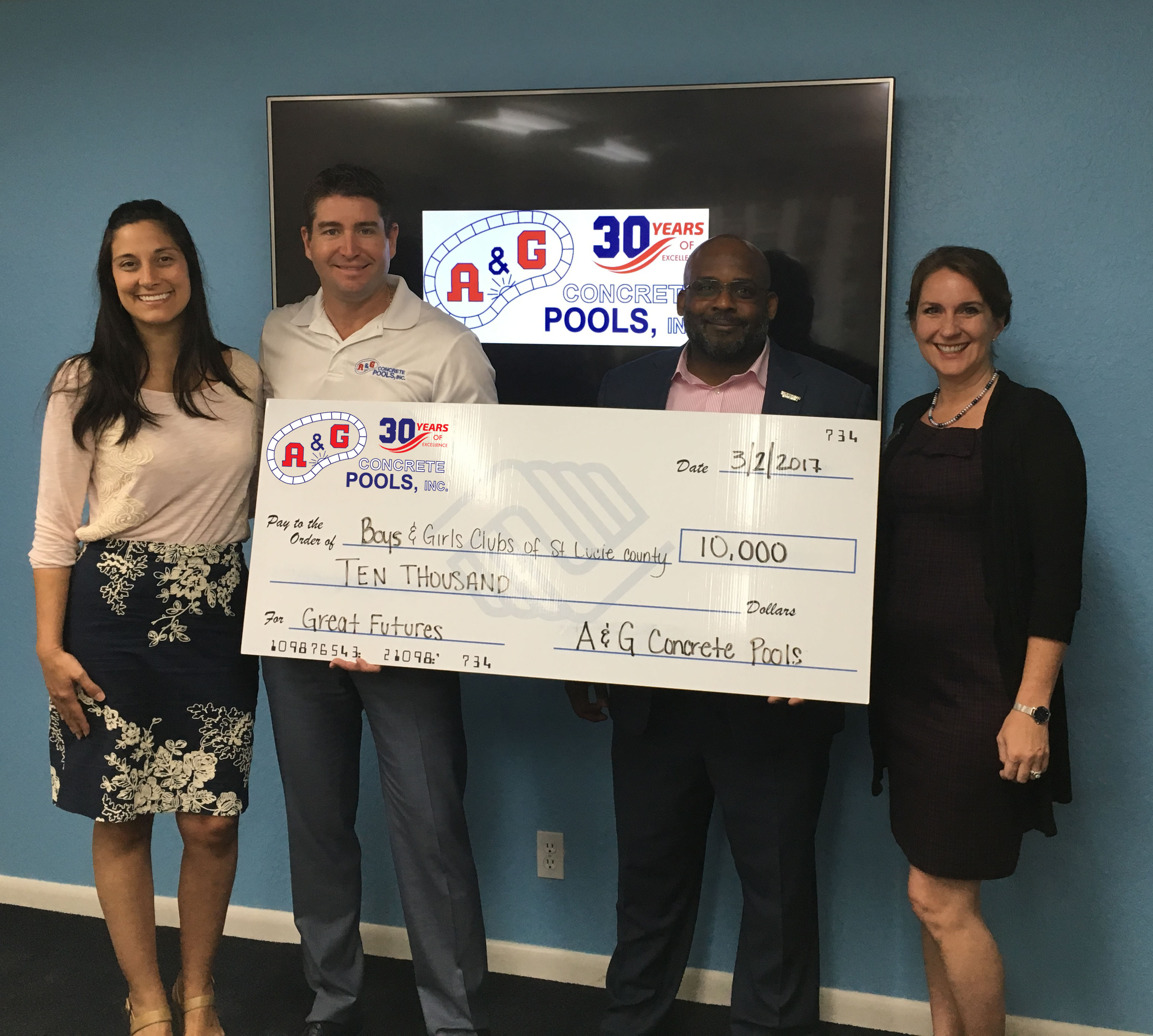 Melanie Wiles, COO Boys & Girls Clubs of St. Lucie County, Travis Leonard, CEO A&G Concrete Pools Inc., William Armstead, CEO Boys & Girls Clubs of St. Lucie County, Toyan Hall, Board Member of Boys & Girls Clubs of St. Lucie County.