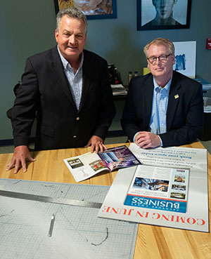 Indian River Magazine Inc. President and Publisher Gregory Enns, and Florida Small Business Development Center Regional Director Tom Kindred Jr.