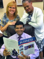 IRSC School of Business Dean Dr. Prishanth Pilly and team members Jodie Anderson and Lila White