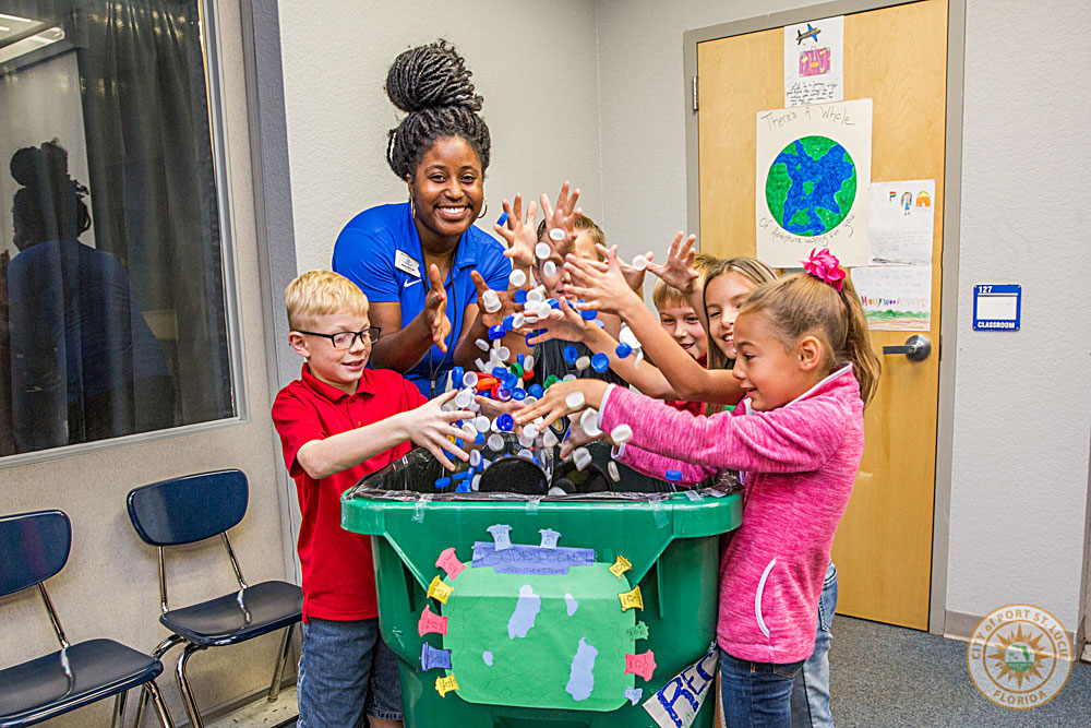 Students enjoy collecting and sorting plastic bottle caps and lids