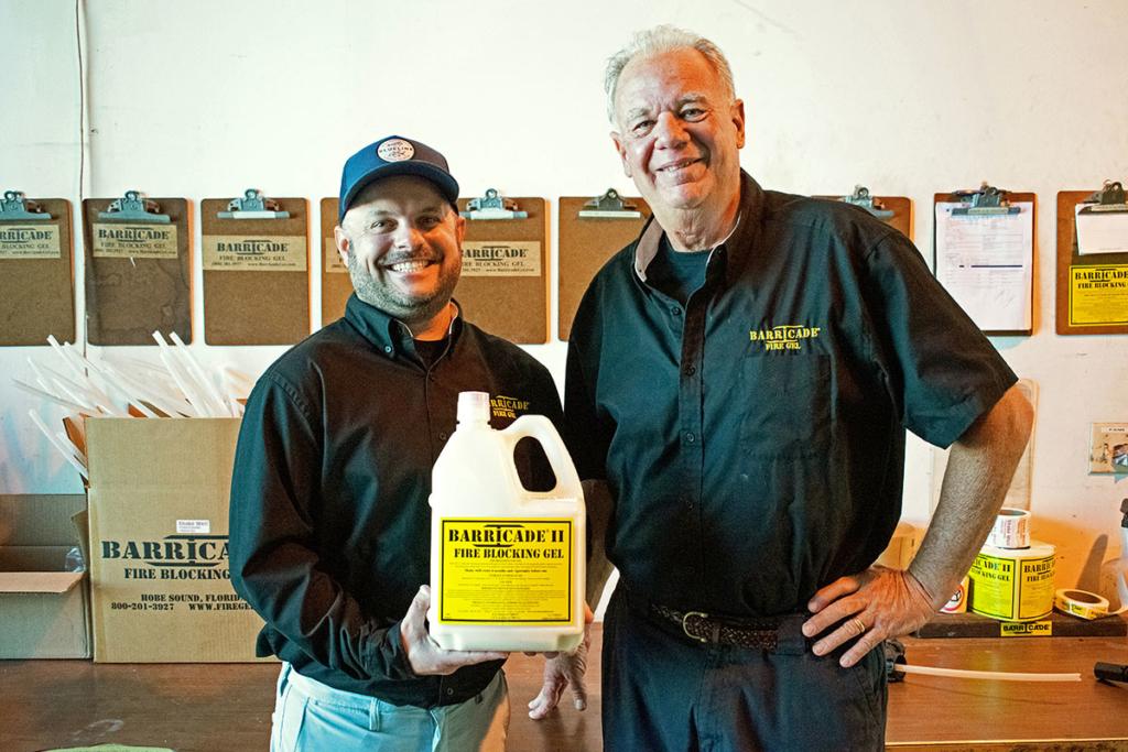 Barricade International Inc. founder John Bartlett, right, and son and Vice President Ben Bartlett
