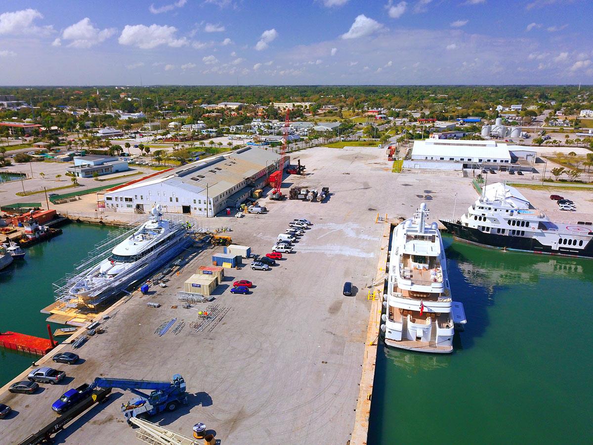 Mega yachts docked at the Port of Fort Pierce
