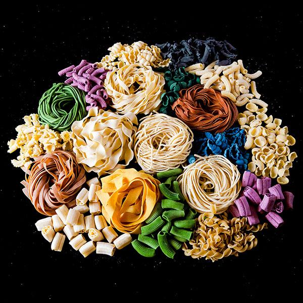 cornucopia of colorful artisan pasta products