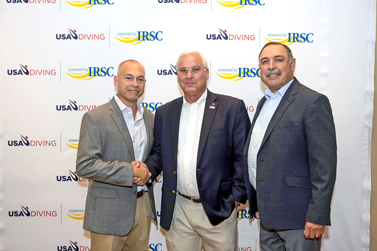 Lee Michaud, USA Diving president; Dr. Timothy E. Moore, president of Indian River State College; and Dave Gascon, USA Diving board chairman