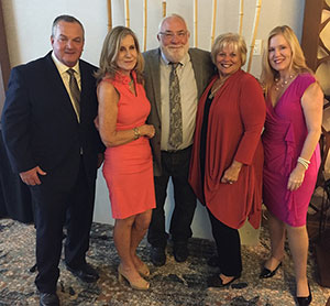From right, Donna Crary, Kerry Firth, Bernie Woodall and Mary Ann Koenig, Publisher Gregory Enns, left